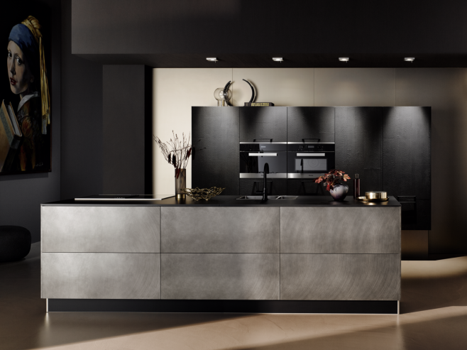 Küchentrends 2019 Frontkombination in Vulkaneiche und in Industriestahl