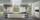 offene Küche mit Glasfront in Weiß